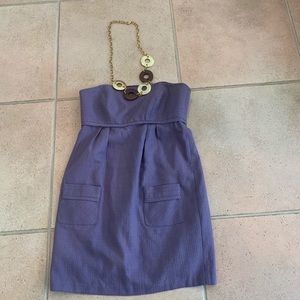 Milly PURPLE Strapless Pocket Dress